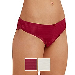The Collection - 2 pack ivory and dark pink Brazilian briefs