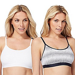 The Collection - 2 pack white non-wired non-padded crop tops