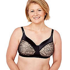 The Collection - Black lace satin non-wired padded mastectomy bra