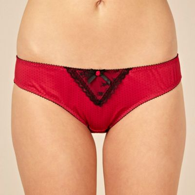 Red polka dotted lace trimmed briefs