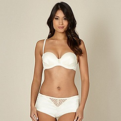 Ultimate - Ivory diamante flower push up strapless bra