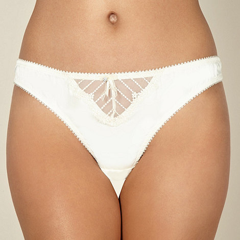 Ultimate - Ivory diamante flower thong