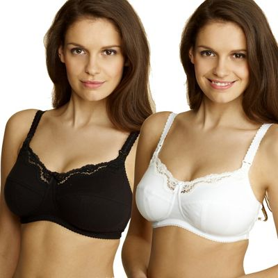 Pack of two black & white nursing bras