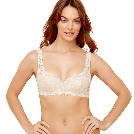 Triumph - Cream lace +Amourette 300+ underwired padded balcony bra
