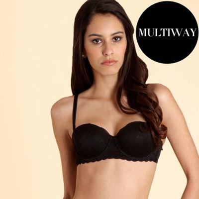 Black floral jacquard multiway bra