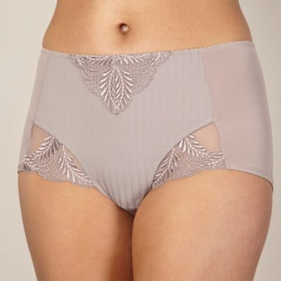 Mink textured stripe high-waisted briefs