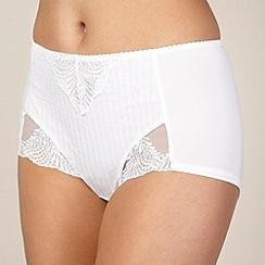 Spirit - White stripe high-waisted tummy smoothing briefs