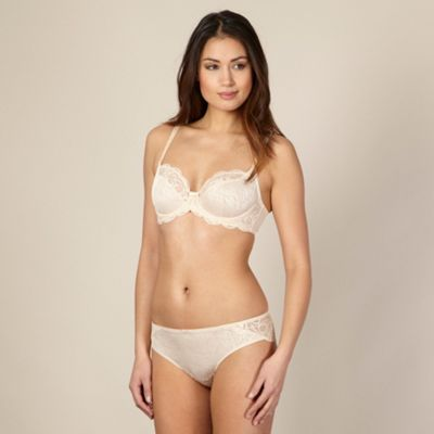 Nude jacquard and lace non-padded balcony bra