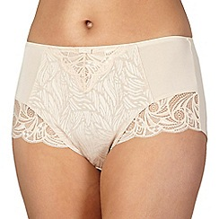 Spirit - Nude jacquard and lace high-waisted tummy smoothing briefs