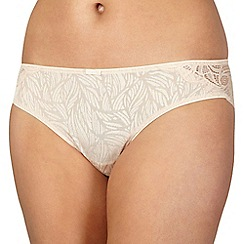 Spirit - Nude jacquard and lace brazilian briefs