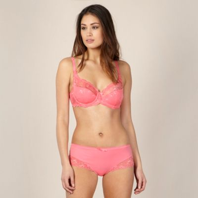 Coral pink supima cotton and lace non-padded balcony bra