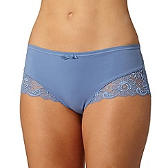 Spirit - Mid blue supima cotton and lace brazilian brief