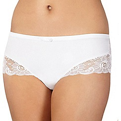 Spirit - White supima cotton and lace brazilian brief