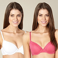 Debenhams - Pack of two pink and white burnout striped t-shirt bras