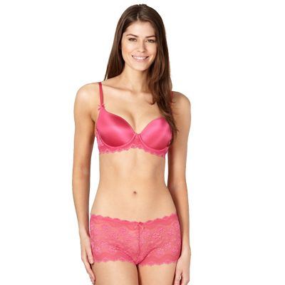 Bright pink lace wing t-shirt bra