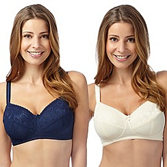 Miriam Stoppard Nurture - Pack of two ivory and navy C-G lace maternity bras