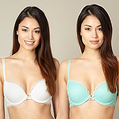Debenhams - Pack of two white and light green push up bras