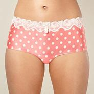 Pink spotted lace satin shorts
