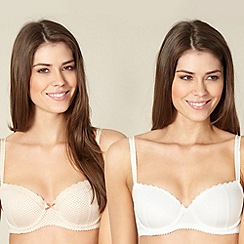 Debenhams - Pack of two cream plain and natural spotted balcony bras