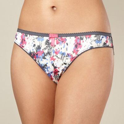 Dark grey lace floral satin brazilian briefs