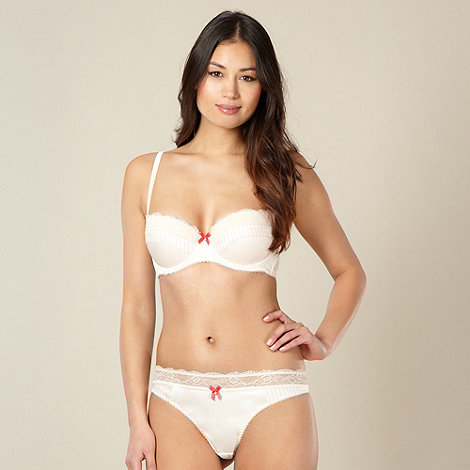 Ultimate - Cream satin lace  push up balcony bra