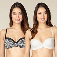 Pack of two black lace balcony bras