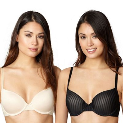 Pack of two black and natural shadow striped t-shirt bras