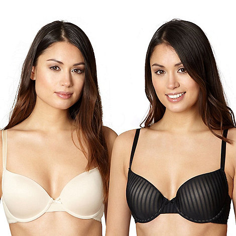 Debenhams - Pack of two black and natural shadow striped t-shirt bras