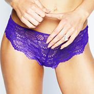 Purple 'One' lace brazilian brief