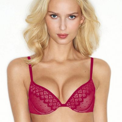 Red pixel lace gel push up bra
