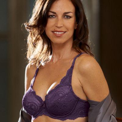 Dark purple flower lace bra