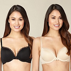 Debenhams - Pack of two natural and black push up bras