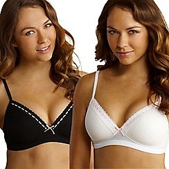 Debenhams - Pack of two black & white mesh non-wired bras