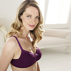 Debenhams - Pack of two dark purple and black spot mesh non padded mastectomy bras