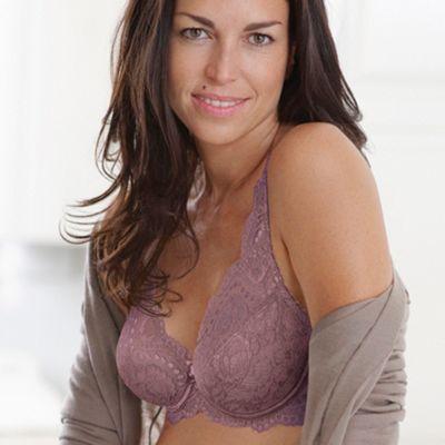 Purple flower lace underwired bra