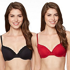 Debenhams - Pack of two red burnout striped t-shirt bras