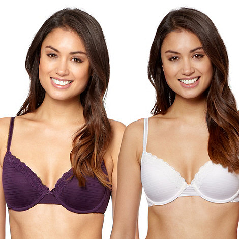 Debenhams - Pack of two purple burnout striped t-shirt bras