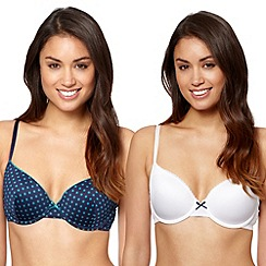 Debenhams - Pack of two navy spotted balcony bras