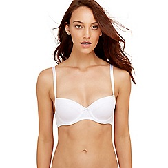Debenhams - Pack of two white and black satin trim balcony bras