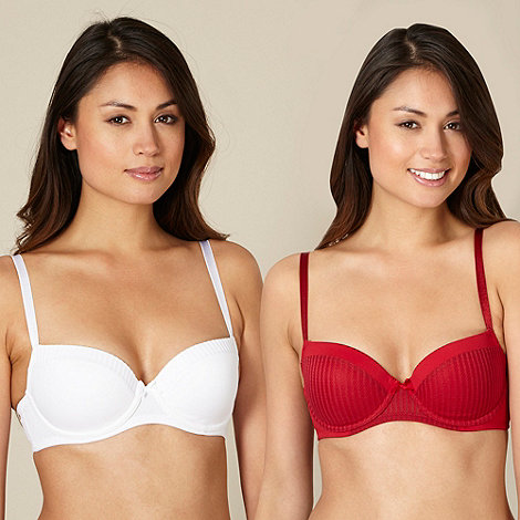 Debenhams - Pack of two red striped trim balcony bras