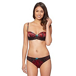 Ultimate - Red floral printed satin balcony bra