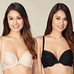 Debenhams - Pack of two natural and black stitch push up bras