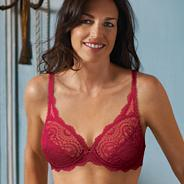 Red floral lace underwired bra