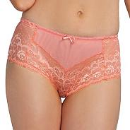 Peach lace microfibre front briefs