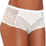 Cream lace microfibre front briefs