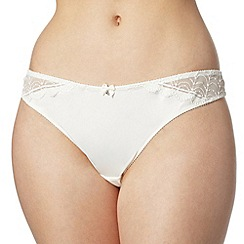 Ultimate - Ivory embroidered mesh and satin thong