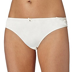 Ultimate - Ivory embroidered mesh and satin brazilian briefs