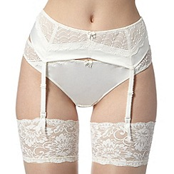Ultimate - Ivory embroidered mesh and satin suspender belt