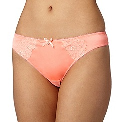 Ultimate - Bright peach applique lace thong