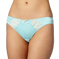 Ultimate - Aqua applique lace thong
